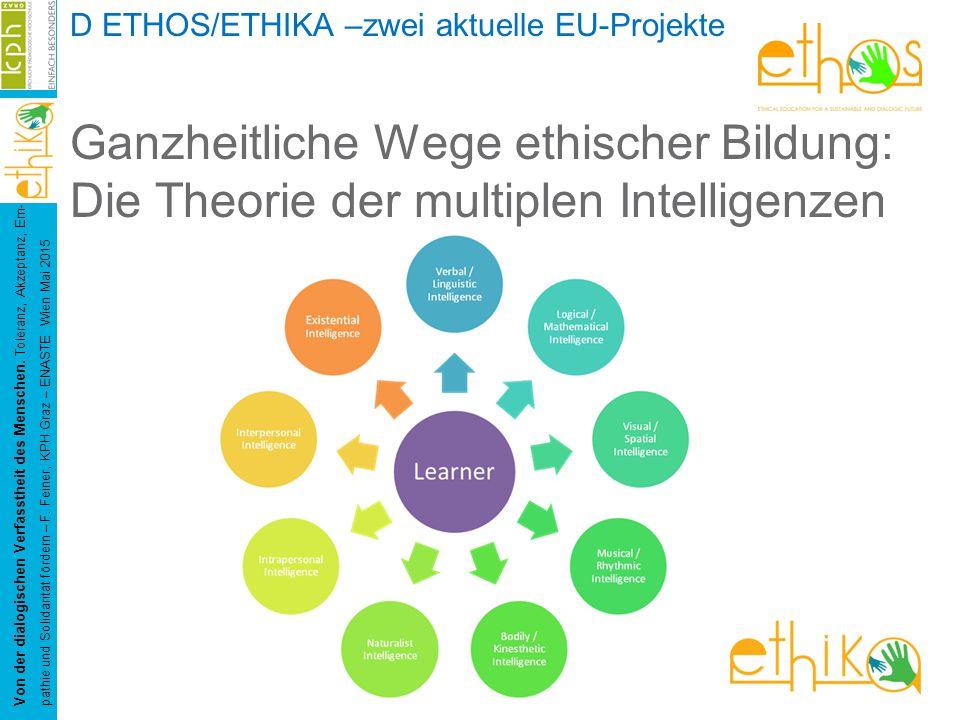 D ETHOS/ETHIKA –zwei aktuelle EU-Projekte Ganzheitliche Wege ethischer Bildung: Die Theorie der multiplen Intelligenzen Von der dialogischen Verfasstheit des Menschen.