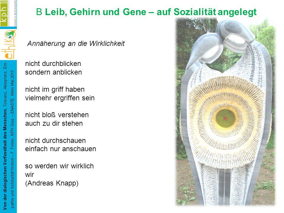 B Leib, Gehirn und Gene – auf Sozialität angelegt Von der dialogischen Verfasstheit des Menschen.