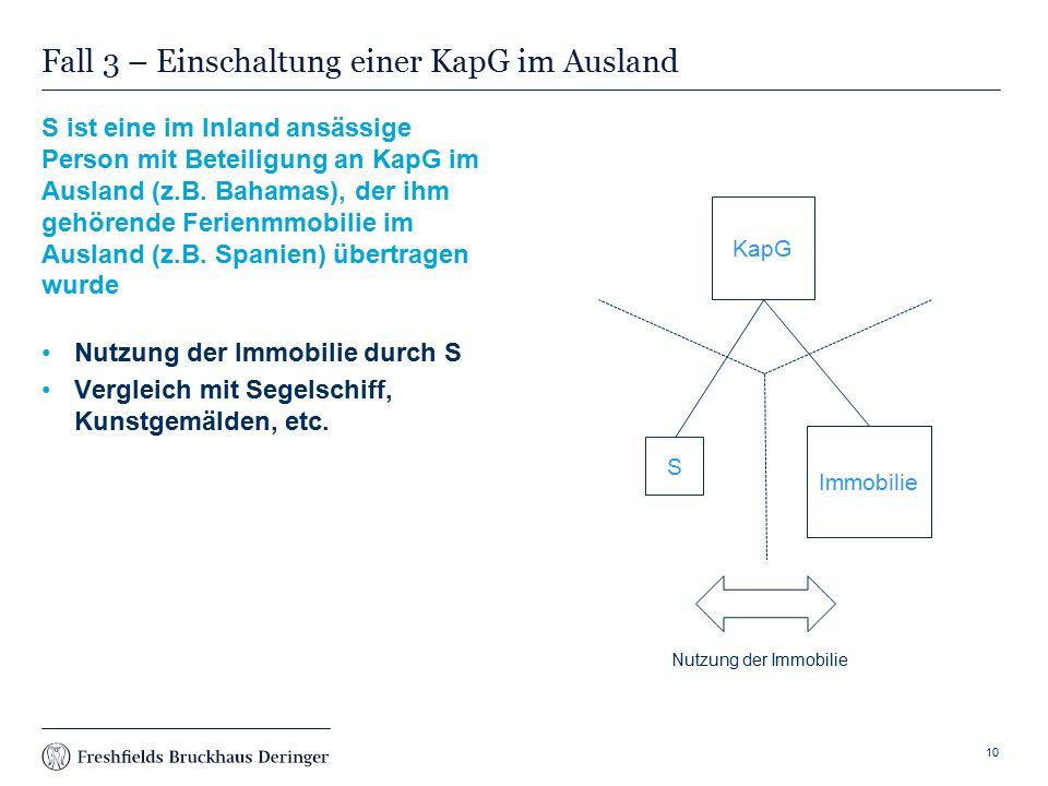 Print slide Fall 3 – Einschaltung einer KapG im Ausland S ist eine im Inland ansässige Person mit Beteiligung an KapG im Ausland (z.B.