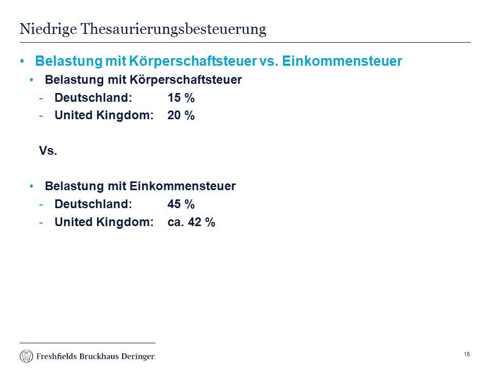 Print slide Niedrige Thesaurierungsbesteuerung Belastung mit Körperschaftsteuer vs.