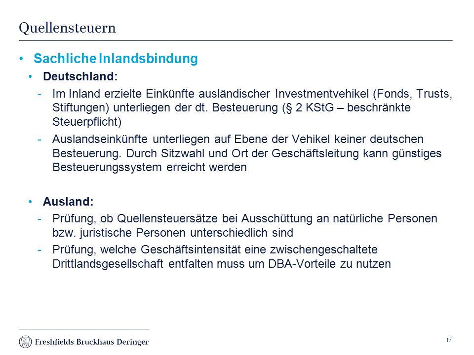 Print slide Quellensteuern Sachliche Inlandsbindung Deutschland: Im Inland erzielte Einkünfte ausländischer Investmentvehikel (Fonds, Trusts, Stiftungen) unterliegen der dt.