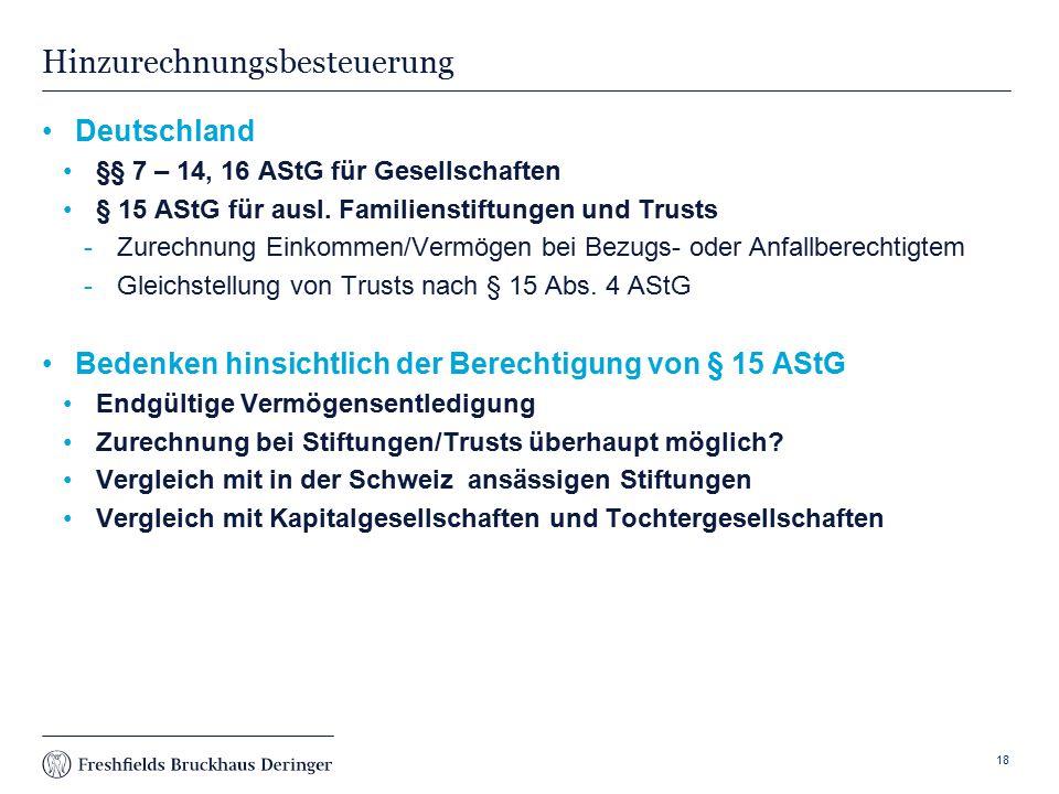 Print slide Hinzurechnungsbesteuerung Deutschland §§ 7 – 14, 16 AStG für Gesellschaften § 15 AStG für ausl.