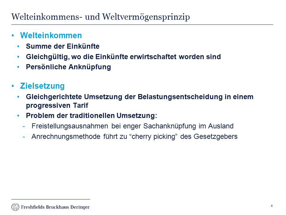 Print slide Fall 1 - Welteinkommensprinzip S ist ein im Inland ansässiger Vermieter mit Immobilien im Ausland und im Inland S bezieht Einkünfte aus seiner Vermietungstätigkeit in Deutschland Die Immobilieneinkünfte im Ausland werden dort besteuert und ausländische Steuer wird angerechnet oder es erfolgt eine Freistellung unter Progressionsvorbehalt 5 S Immobilie