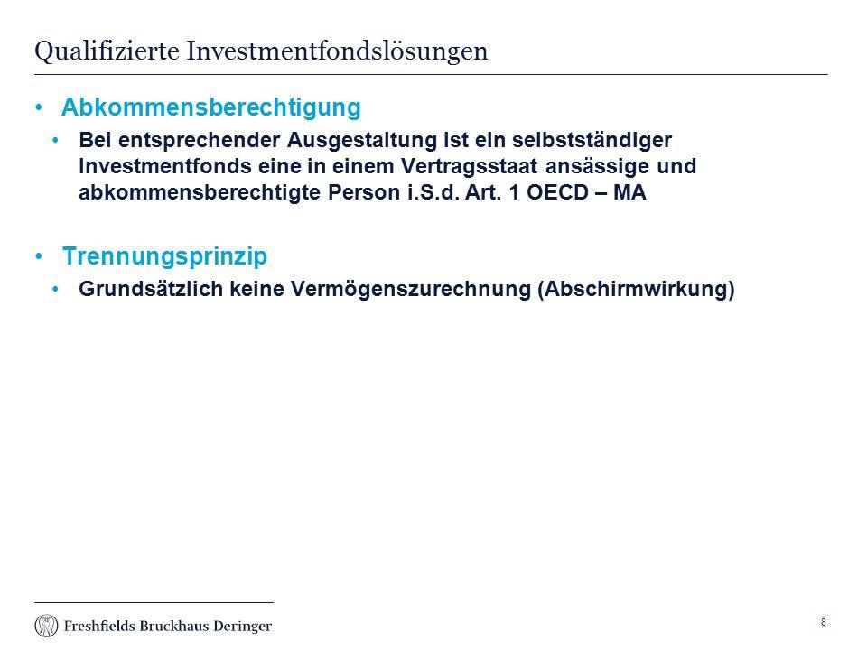 Print slide Qualifizierte Investmentfondslösungen Abkommensberechtigung Bei entsprechender Ausgestaltung ist ein selbstständiger Investmentfonds eine in einem Vertragsstaat ansässige und abkommensberechtigte Person i.S.d.
