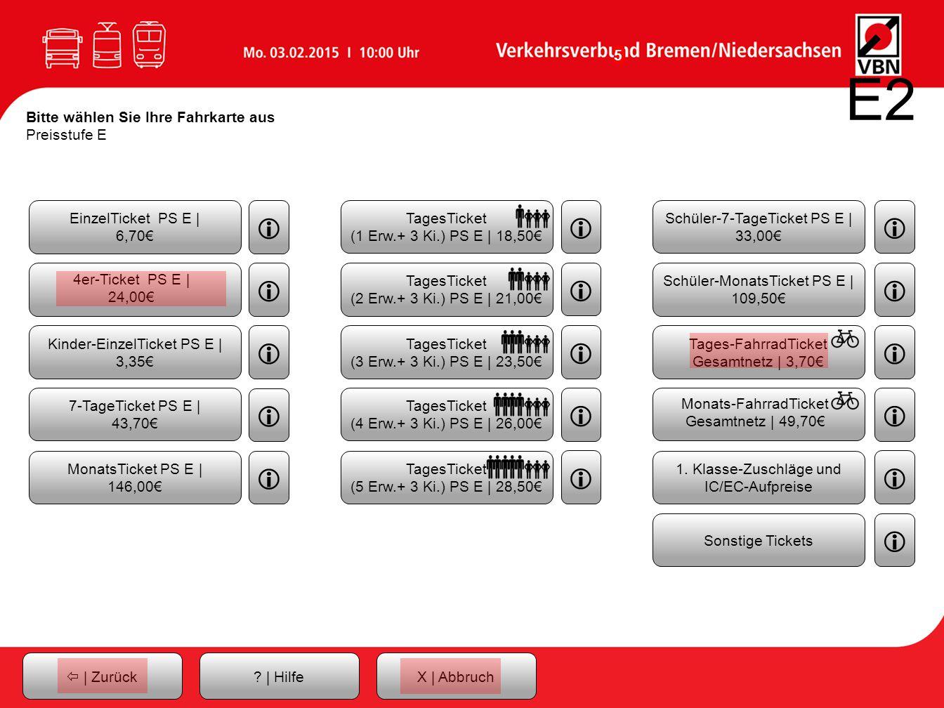 5 4er-Ticket PS E | 24,00€ E2  | ZurückX | Abbruch.