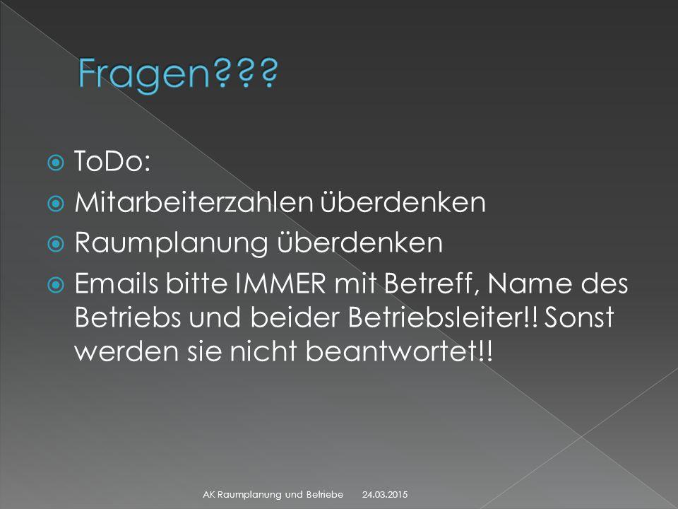  ToDo:  Mitarbeiterzahlen überdenken  Raumplanung überdenken  Emails bitte IMMER mit Betreff, Name des Betriebs und beider Betriebsleiter!! Sonst