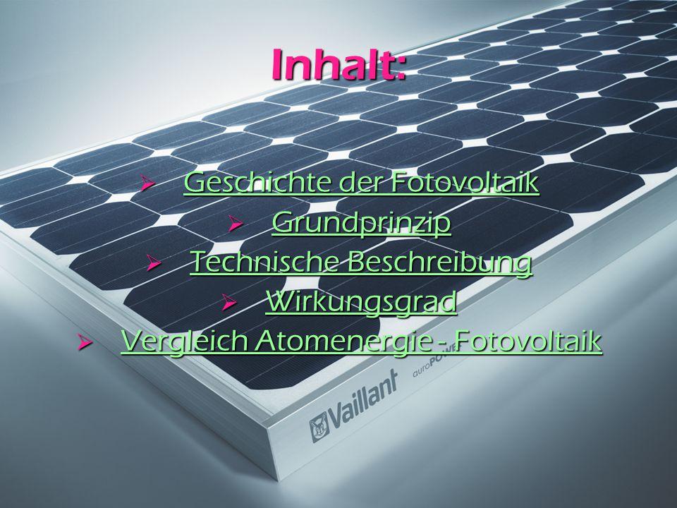 Inhalt:  Geschichte der Fotovoltaik Geschichte der Fotovoltaik Geschichte der Fotovoltaik  Grundprinzip Grundprinzip  Technische Beschreibung Techn