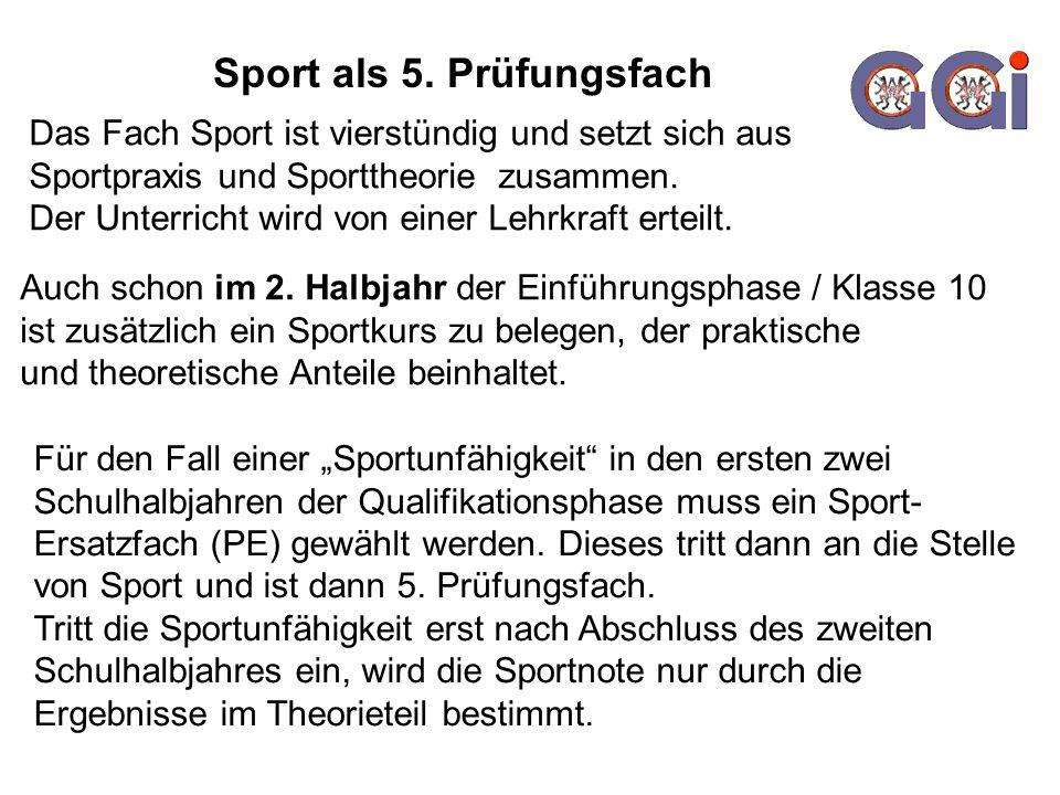Sport als 5. Prüfungsfach Das Fach Sport ist vierstündig und setzt sich aus Sportpraxis und Sporttheorie zusammen. Der Unterricht wird von einer Lehrk