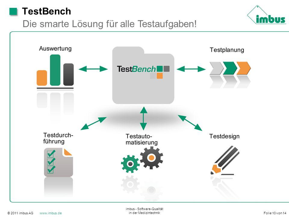 © 2011 imbus AG www.imbus.de imbus - Software-Qualität in der Medizintechnik Folie 10 von 14 Die smarte Lösung für alle Testaufgaben! TestBench