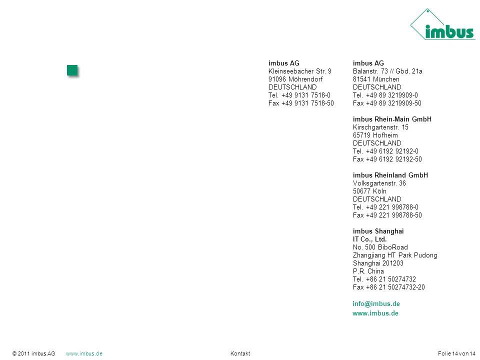 imbus AG Kleinseebacher Str. 9 Balanstr. 73 // Gbd. 21a 91096 Möhrendorf 81541 München DEUTSCHLAND Tel. +49 9131 7518-0 Tel. +49 89 3219909-0 Fax +49