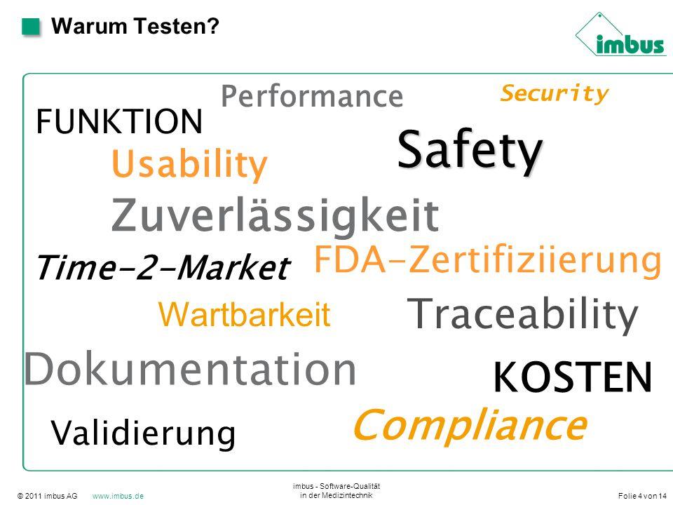 © 2011 imbus AG www.imbus.de imbus - Software-Qualität in der Medizintechnik Folie 4 von 14 Warum Testen? Performance Security FUNKTION Usability Time
