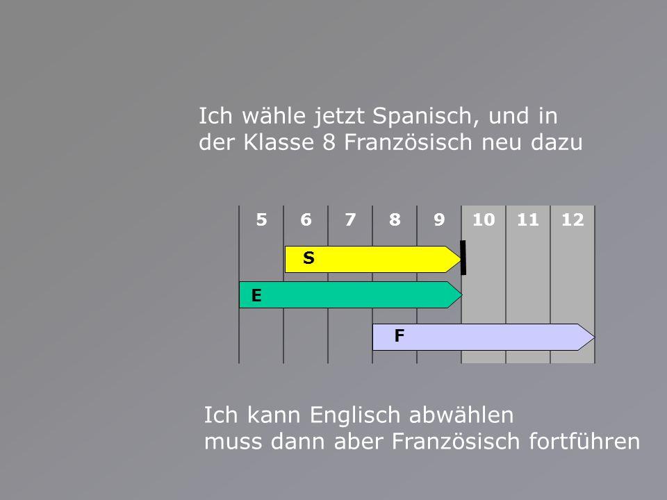 56789101112 Ich wähle jetzt Spanisch, und in der Klasse 8 Französisch neu dazu Ich kann Englisch abwählen muss dann aber Französisch fortführen E S F