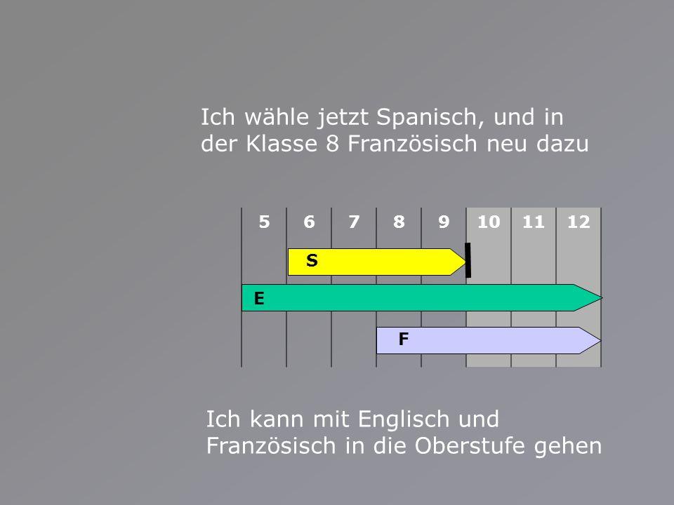 56789101112 Ich wähle jetzt Spanisch, und in der Klasse 8 Französisch neu dazu Ich kann mit Englisch und Französisch in die Oberstufe gehen E S F