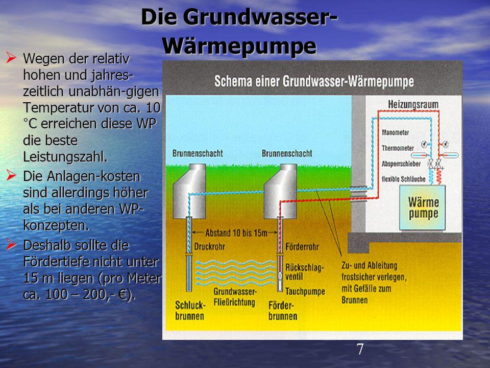 7 Die Grundwasser- Wärmepumpe  Wegen der relativ hohen und jahres- zeitlich unabhän-gigen Temperatur von ca. 10 °C erreichen diese WP die beste Leist