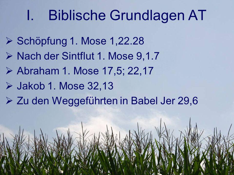I.Biblische Grundlagen AT  Schöpfung 1. Mose 1,22.28  Nach der Sintflut 1.