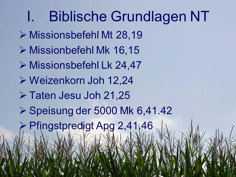 I.Biblische Grundlagen NT  Joh 12,24 Weizenkorn – stirbt – bringt es viel Frucht.