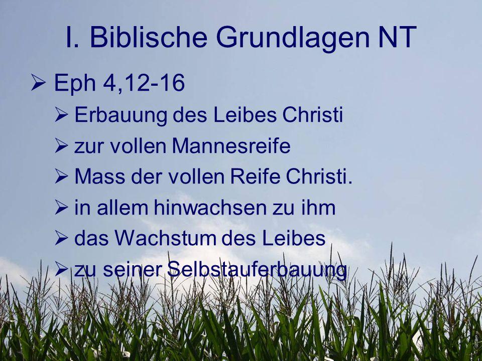 I. Biblische Grundlagen NT  Eph 4,12-16  Erbauung des Leibes Christi  zur vollen Mannesreife  Mass der vollen Reife Christi.  in allem hinwachsen