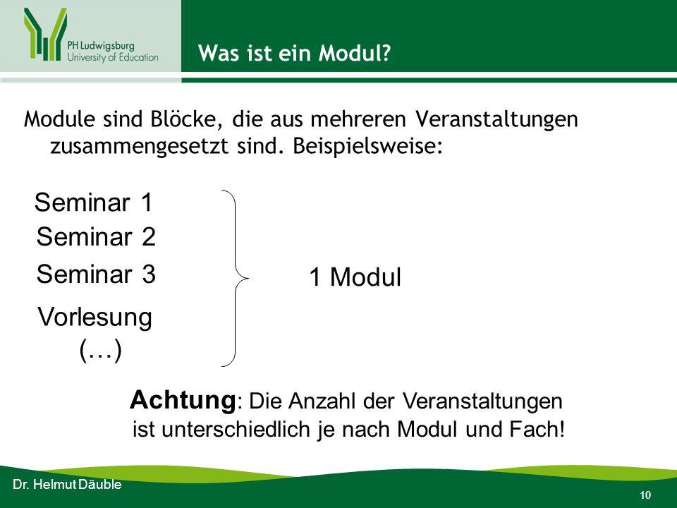 10 Was ist ein Modul? Module sind Blöcke, die aus mehreren Veranstaltungen zusammengesetzt sind. Beispielsweise: Dr. Helmut Däuble Seminar 1 Seminar 2
