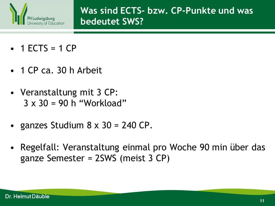 """11 Was sind ECTS- bzw. CP-Punkte und was bedeutet SWS? 1 ECTS = 1 CP 1 CP ca. 30 h Arbeit Veranstaltung mit 3 CP: 3 x 30 = 90 h """"Workload"""" ganzes Stud"""