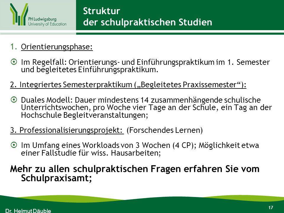 17 Struktur der schulpraktischen Studien 1. Orientierungsphase:  Im Regelfall: Orientierungs- und Einführungspraktikum im 1. Semester und begleitetes