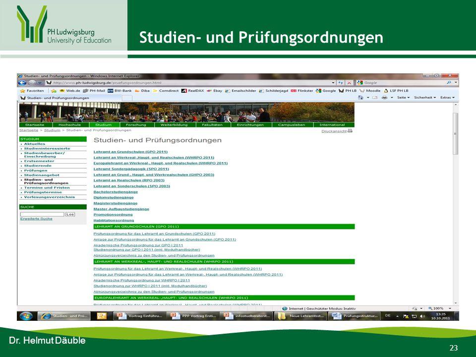 23 Studien- und Prüfungsordnungen Dr. Helmut Däuble
