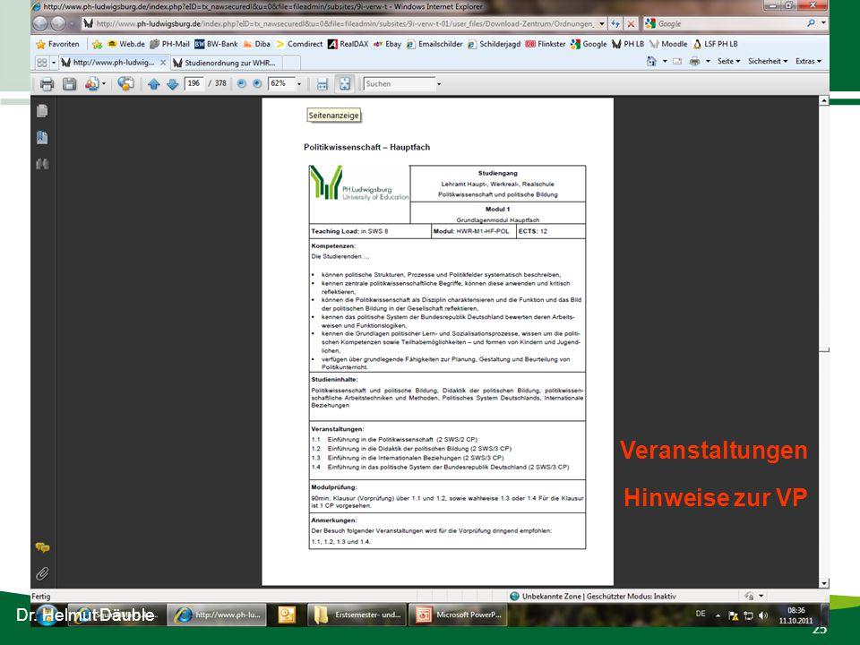 25 Infos für WHR-Erstsemesterstudierende Wintersemester 2011-12 Dr. Helmut Däuble Veranstaltungen Hinweise zur VP