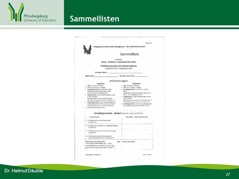 27 Sammellisten Dr. Helmut Däuble