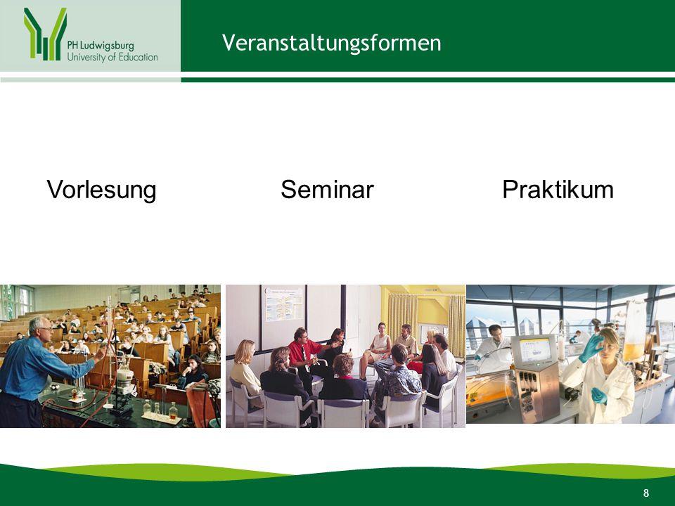 19 Stundenplangestaltung  Veranstaltungen im ersten Semester allesamt in Modul 1.