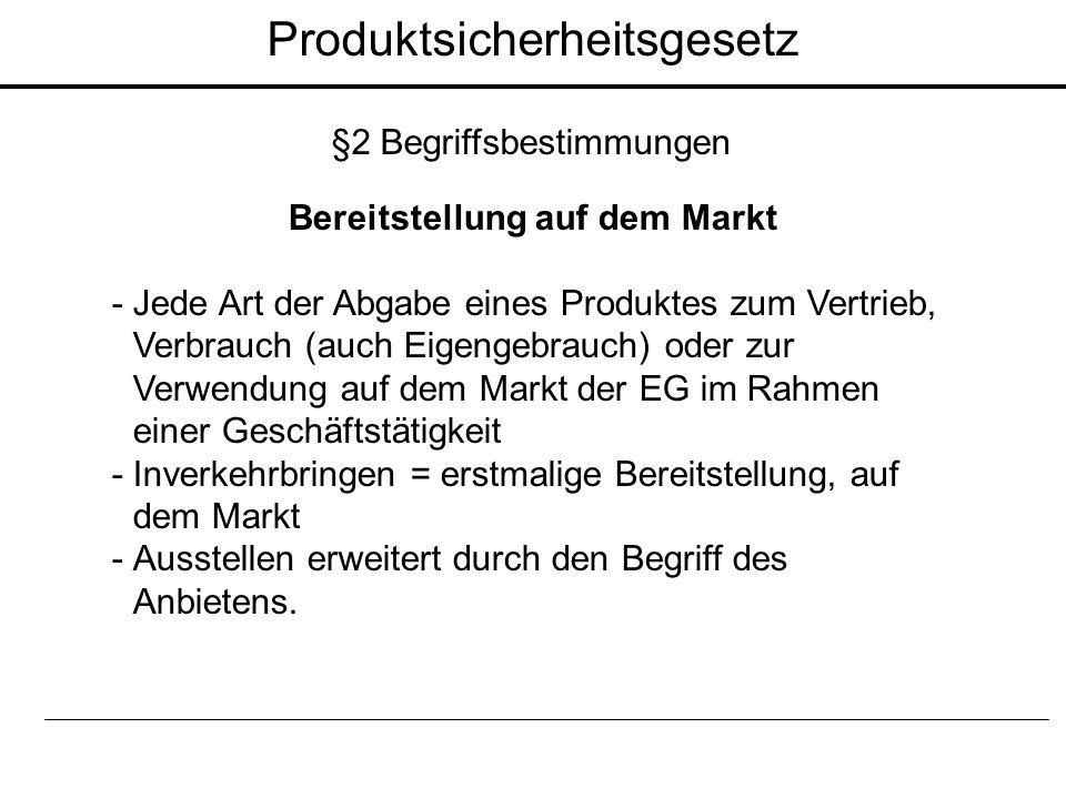 Bereitstellung auf dem Markt - Jede Art der Abgabe eines Produktes zum Vertrieb, Verbrauch (auch Eigengebrauch) oder zur Verwendung auf dem Markt der