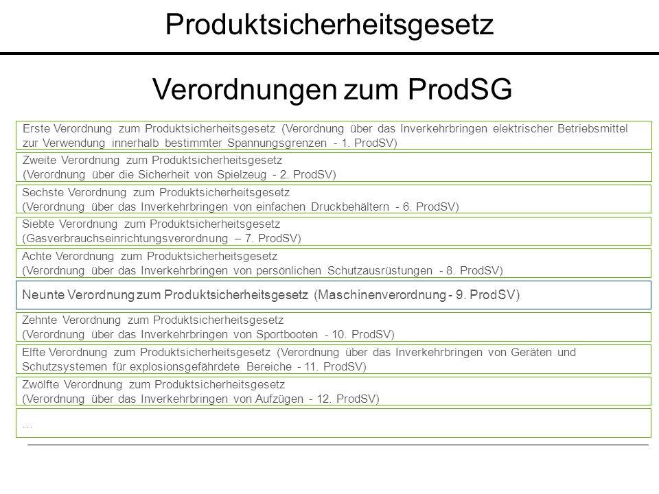 Produktsicherheitsgesetz Verordnungen zum ProdSG Erste Verordnung zum Produktsicherheitsgesetz (Verordnung über das Inverkehrbringen elektrischer Betr
