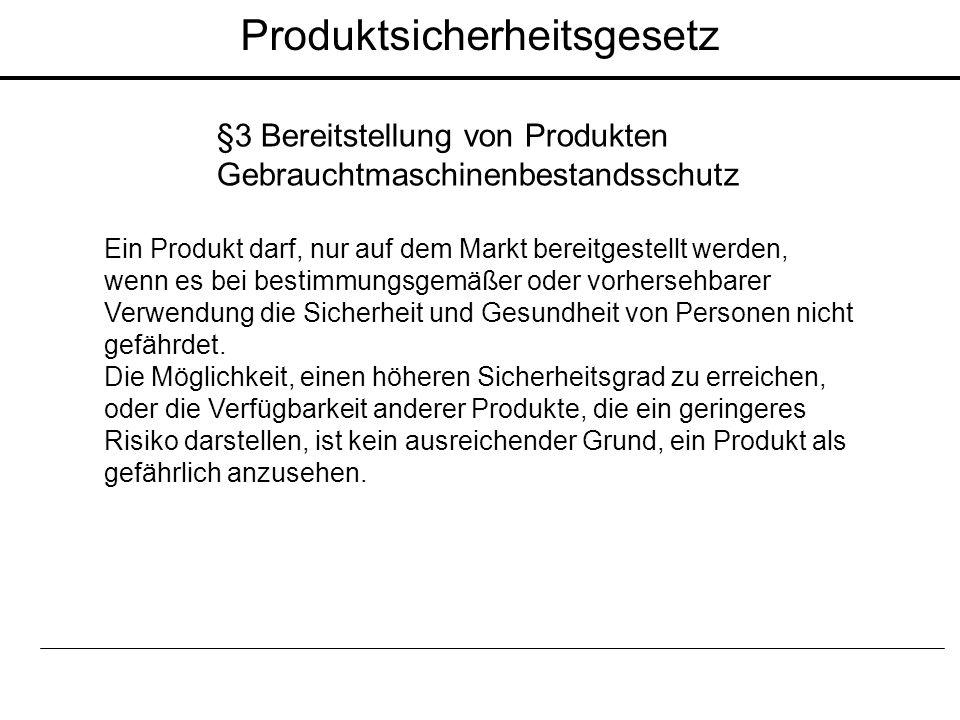 Produktsicherheitsgesetz §3 Bereitstellung von Produkten Gebrauchtmaschinenbestandsschutz Ein Produkt darf, nur auf dem Markt bereitgestellt werden, w