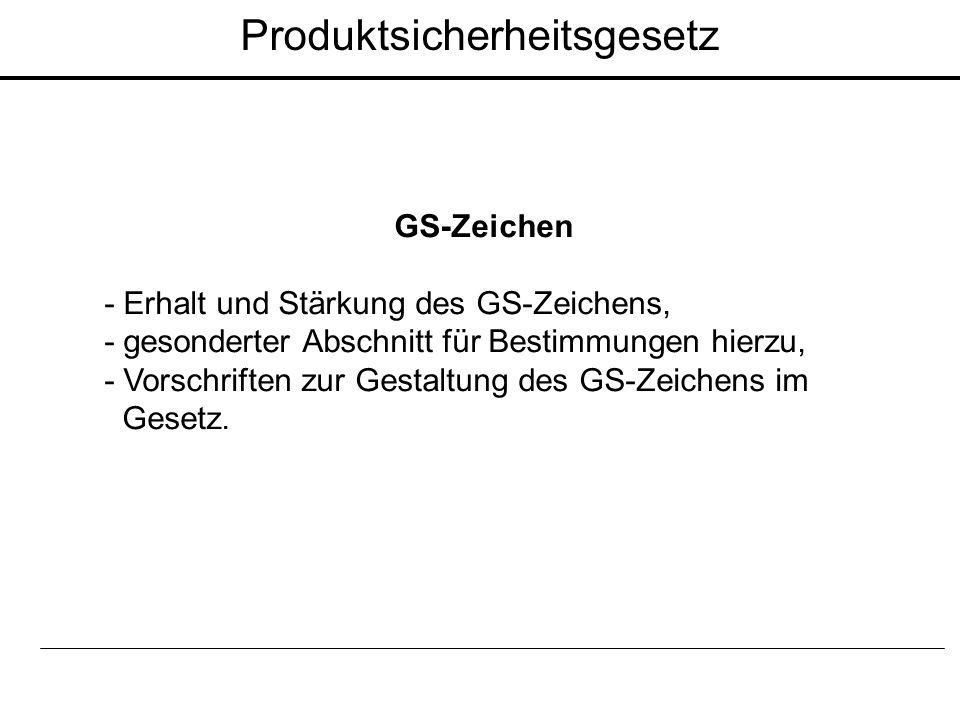 GS-Zeichen - Erhalt und Stärkung des GS-Zeichens, - gesonderter Abschnitt für Bestimmungen hierzu, - Vorschriften zur Gestaltung des GS-Zeichens im Ge