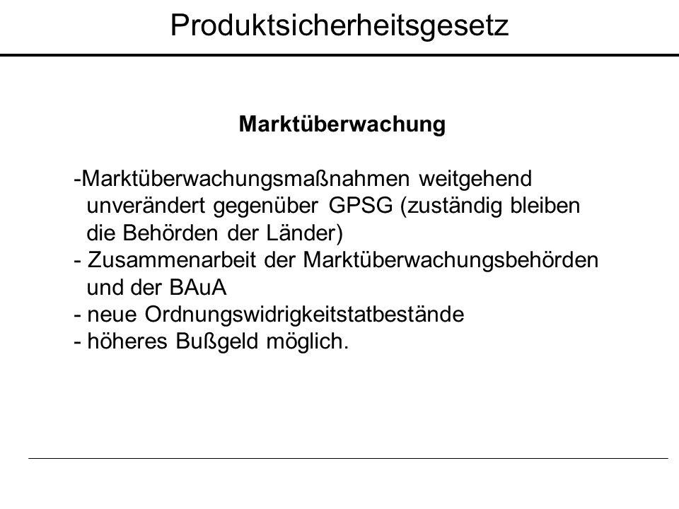 Marktüberwachung -Marktüberwachungsmaßnahmen weitgehend unverändert gegenüber GPSG (zuständig bleiben die Behörden der Länder) - Zusammenarbeit der Ma
