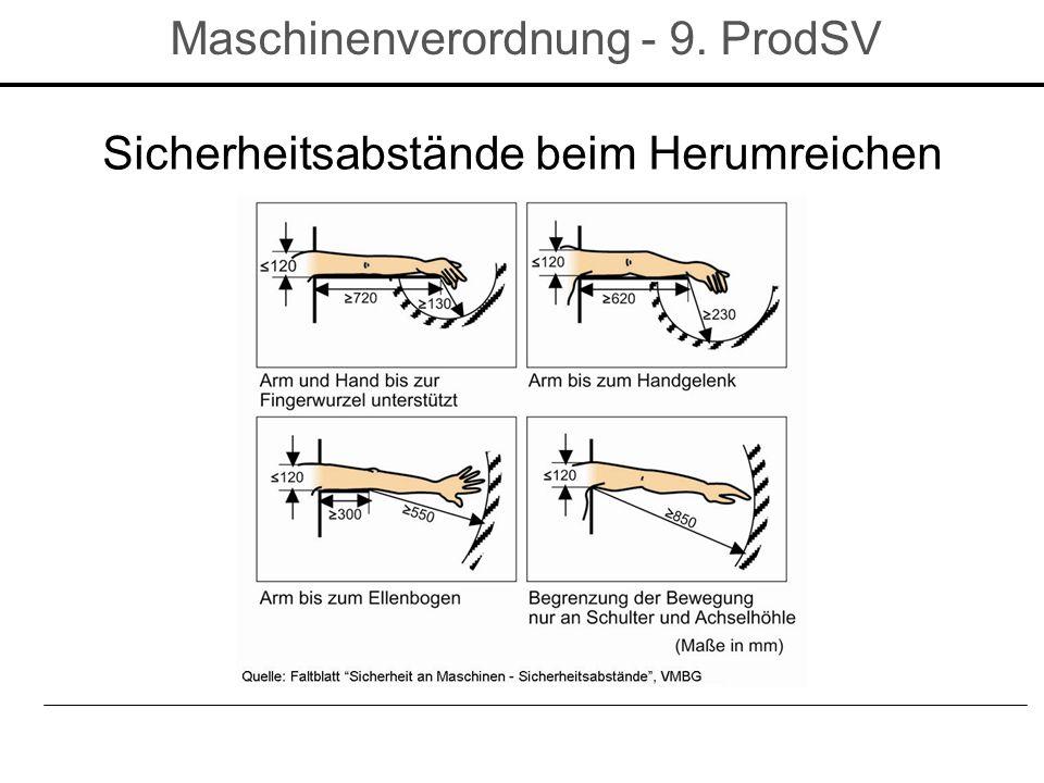 Sicherheitsabstände beim Herumreichen Maschinenverordnung - 9. ProdSV