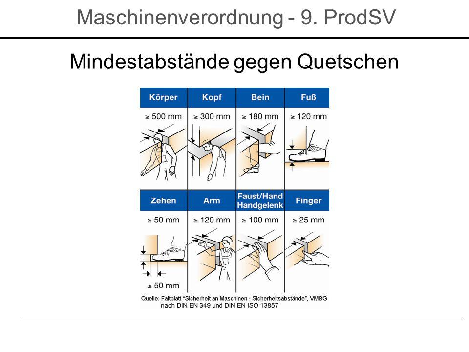 Mindestabstände gegen Quetschen Maschinenverordnung - 9. ProdSV