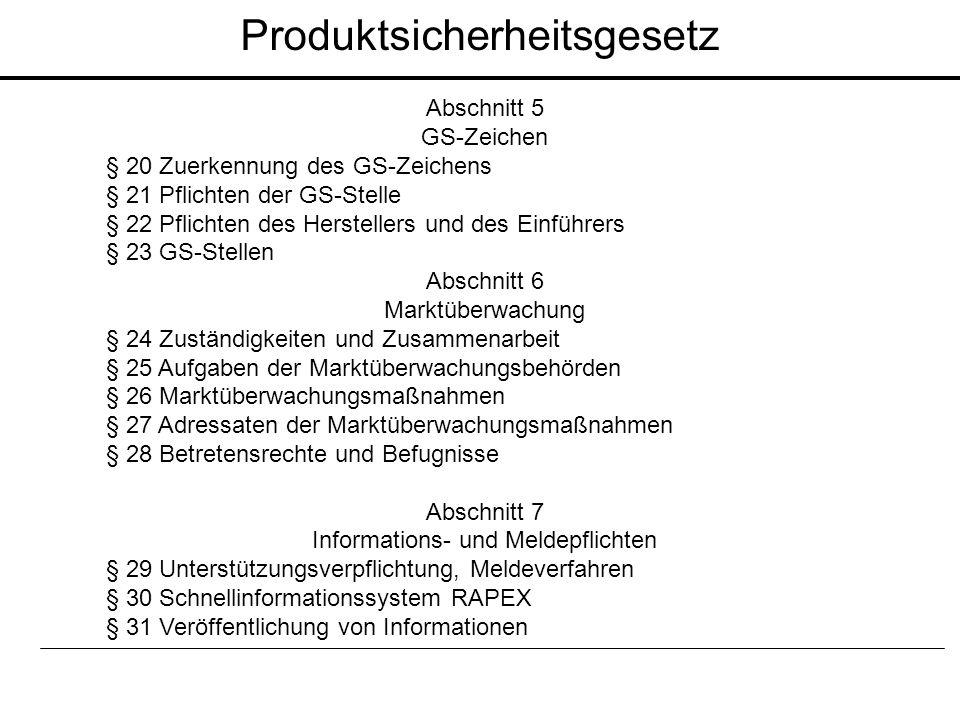 Abschnitt 5 GS-Zeichen § 20 Zuerkennung des GS-Zeichens § 21 Pflichten der GS-Stelle § 22 Pflichten des Herstellers und des Einführers § 23 GS-Stellen