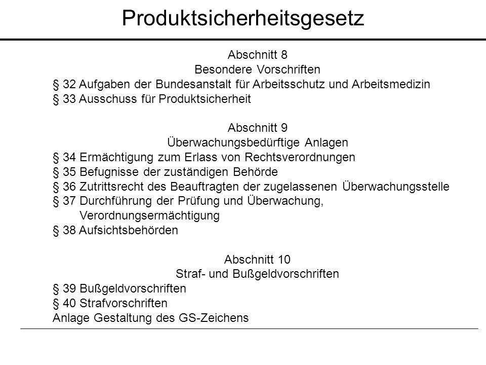 Abschnitt 8 Besondere Vorschriften § 32 Aufgaben der Bundesanstalt für Arbeitsschutz und Arbeitsmedizin § 33 Ausschuss für Produktsicherheit Abschnitt