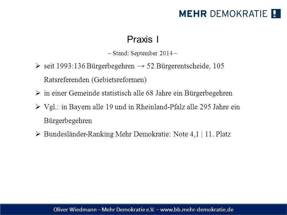 Oliver Wiedmann – Mehr Demokratie e.V. – www.bb.mehr-demokratie.de Praxis I – Stand: September 2014 –  seit 1993:136 Bürgerbegehren → 52 Bürgerentsch