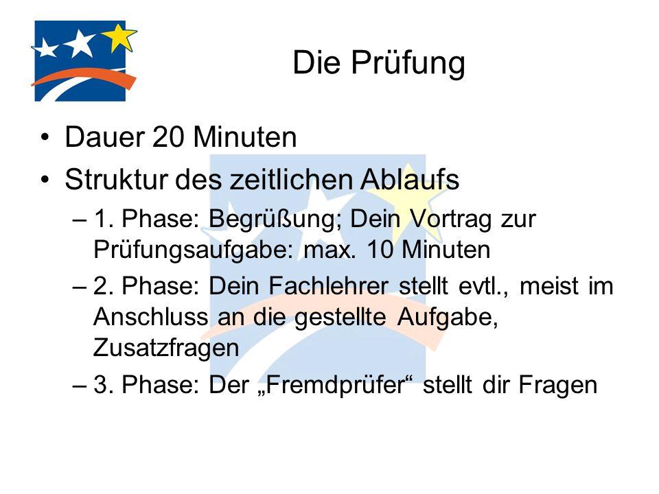 Die Prüfung Dauer 20 Minuten Struktur des zeitlichen Ablaufs –1. Phase: Begrüßung; Dein Vortrag zur Prüfungsaufgabe: max. 10 Minuten –2. Phase: Dein F