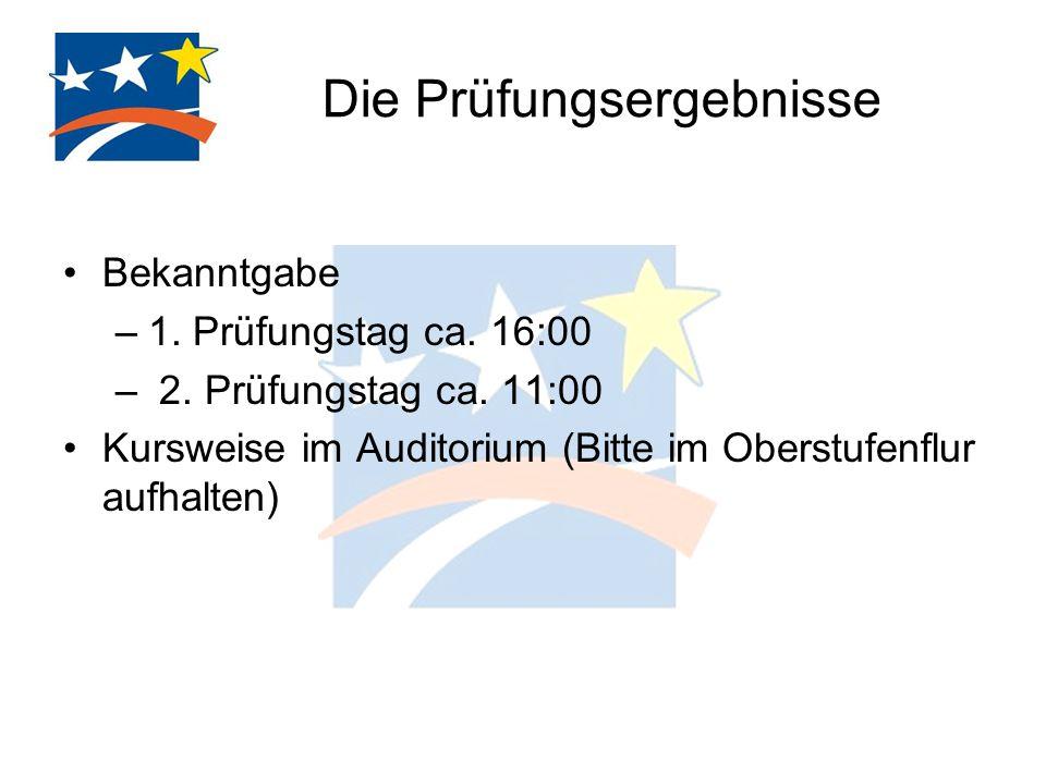 Die Prüfungsergebnisse Bekanntgabe –1. Prüfungstag ca. 16:00 – 2. Prüfungstag ca. 11:00 Kursweise im Auditorium (Bitte im Oberstufenflur aufhalten)