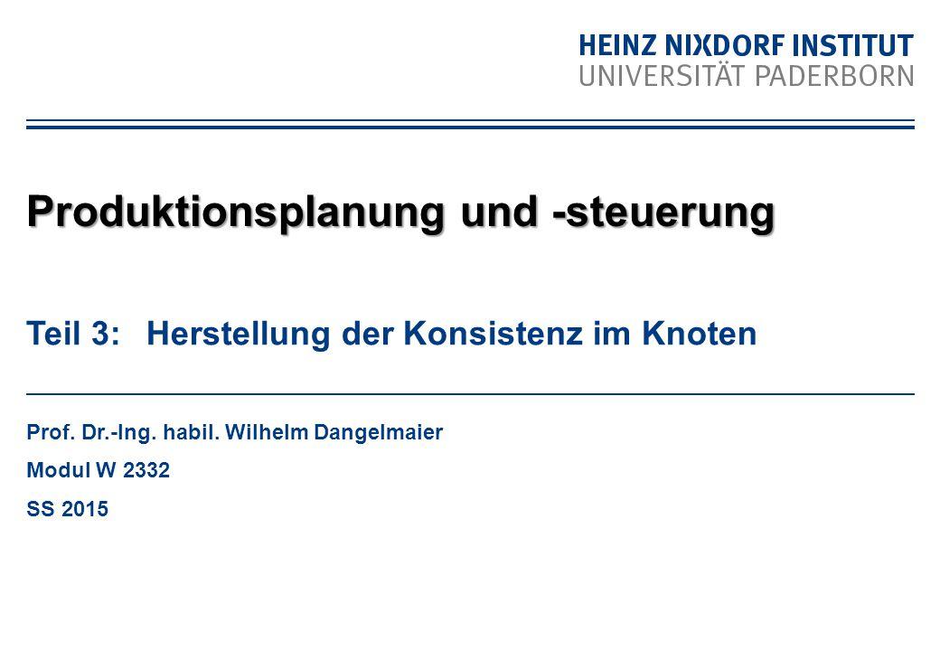 Teil 3: Herstellung der Konsistenz im Knoten Prof. Dr.-Ing. habil. Wilhelm Dangelmaier Modul W 2332 SS 2015 Produktionsplanung und -steuerung
