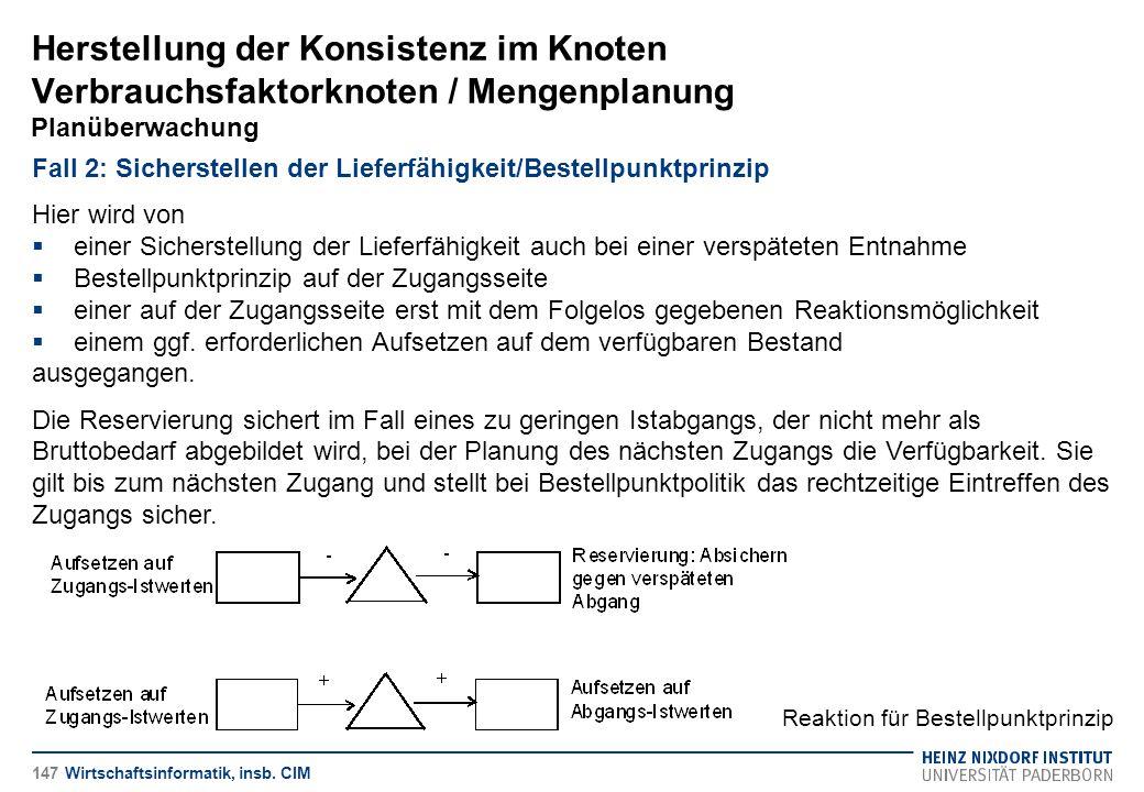 Herstellung der Konsistenz im Knoten Verbrauchsfaktorknoten / Mengenplanung Planüberwachung Wirtschaftsinformatik, insb. CIM Fall 2: Sicherstellen der