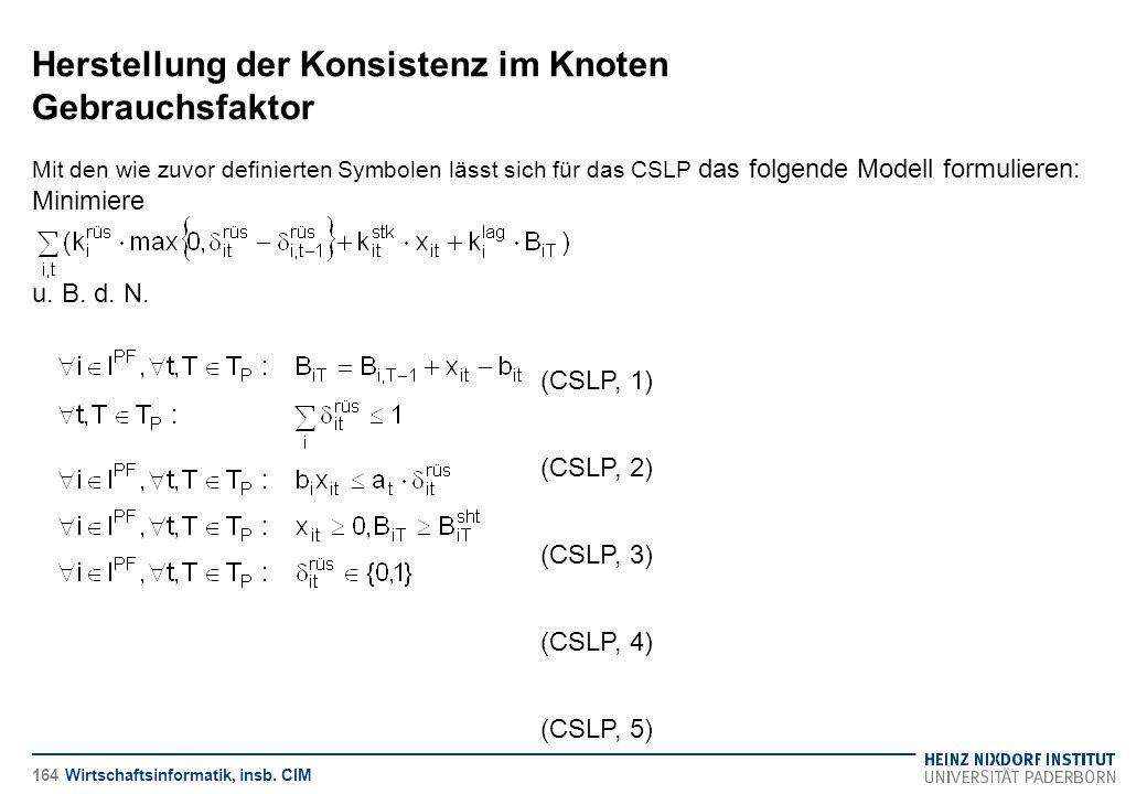 Herstellung der Konsistenz im Knoten Gebrauchsfaktor Wirtschaftsinformatik, insb. CIM Mit den wie zuvor definierten Symbolen lässt sich für das CSLP d