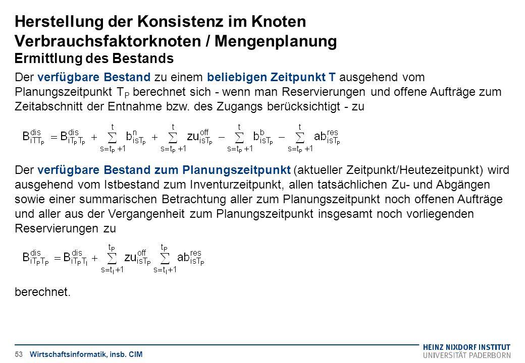 Herstellung der Konsistenz im Knoten Verbrauchsfaktorknoten / Mengenplanung Ermittlung des Bestands Wirtschaftsinformatik, insb. CIM Der verfügbare Be