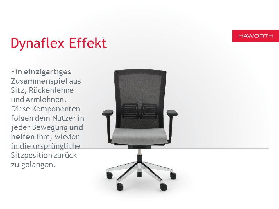 Dynaflex Effekt Ein einzigartiges Zusammenspiel aus Sitz, Rückenlehne und Armlehnen.