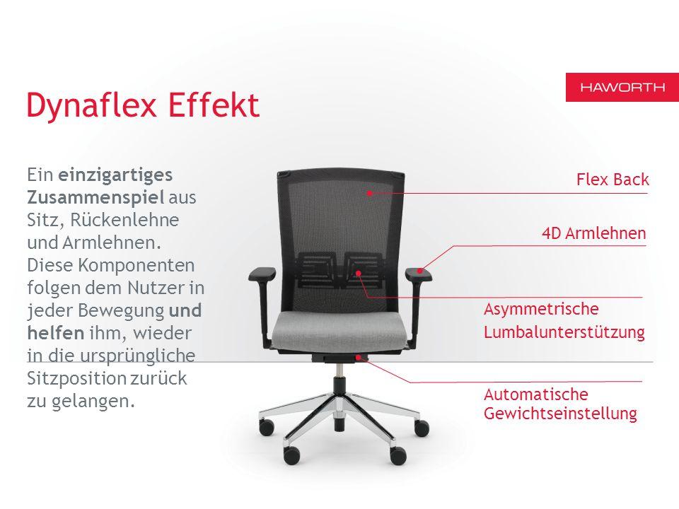 Flex Back Asymmetrische Lumbalunterstützung 4D Armlehnen Dynaflex Effekt Automatische Gewichtseinstellung Ein einzigartiges Zusammenspiel aus Sitz, Rückenlehne und Armlehnen.
