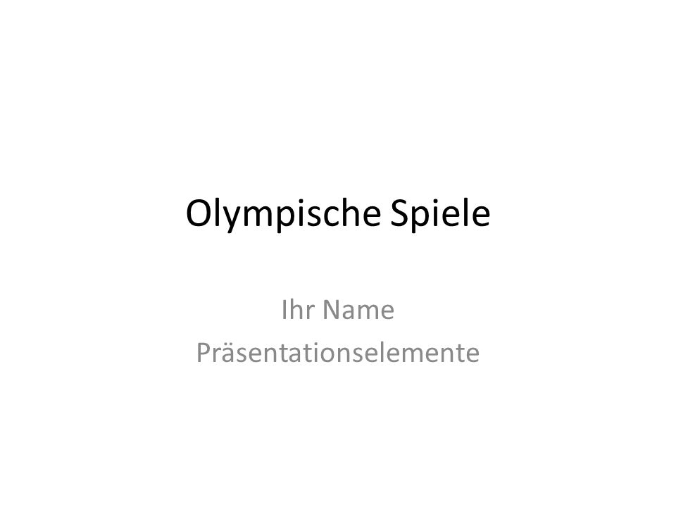 Olympische Spiele Ihr Name Präsentationselemente