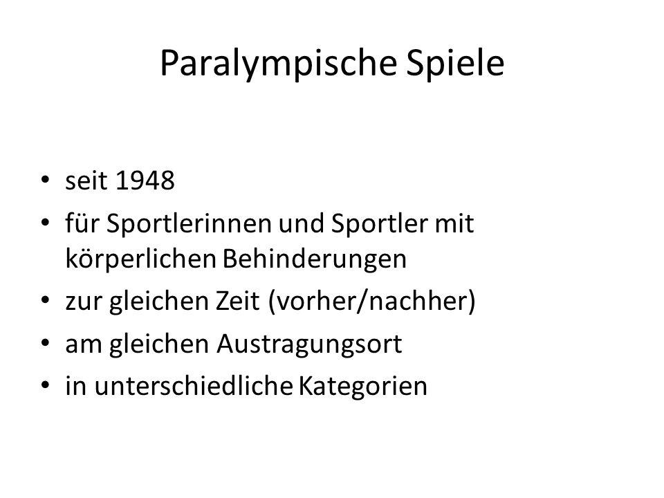 Paralympische Spiele seit 1948 für Sportlerinnen und Sportler mit körperlichen Behinderungen zur gleichen Zeit (vorher/nachher) am gleichen Austragung