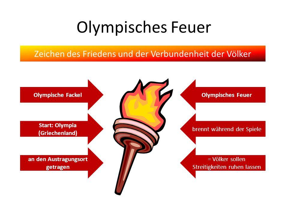 Olympisches Feuer Zeichen des Friedens und der Verbundenheit der Völker Start: Olympia (Griechenland) an den Austragungsort getragen Olympische Fackel