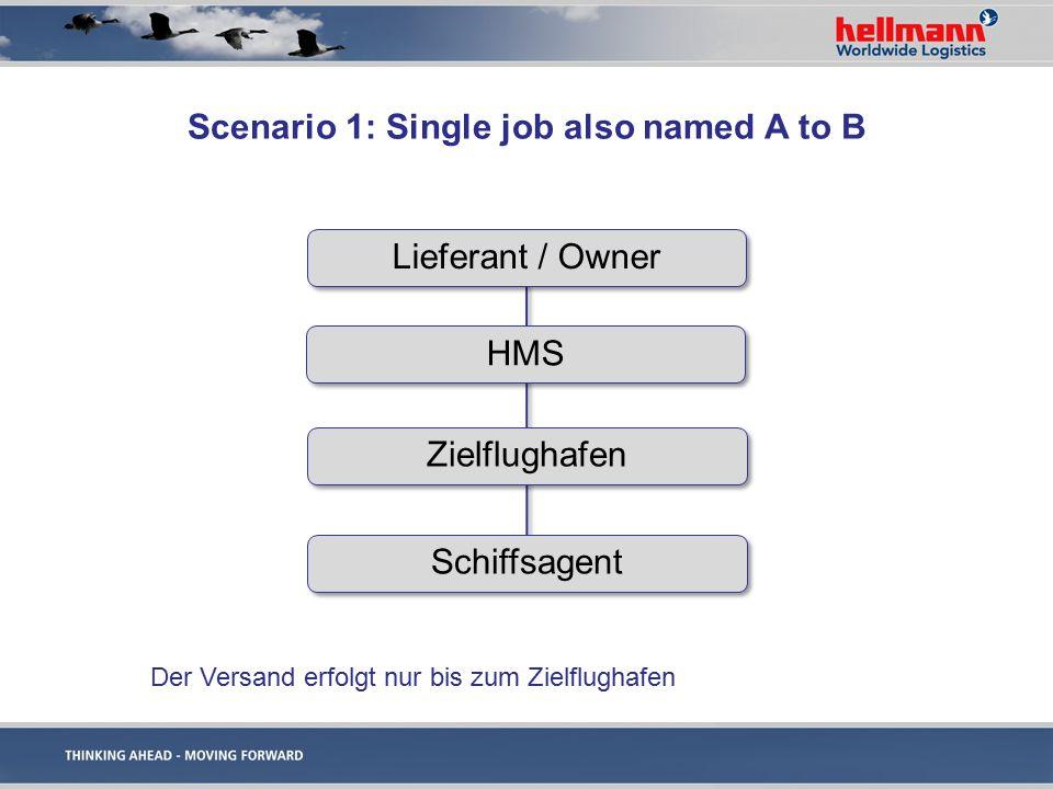 Scenario 2: Delivery on Board (at destination only) Lieferant / Owner HMS Zielflughafen c/o HMS office Anlieferung an das Schiff HMS Büro kümmert sich um den Versand von Zielflughafen bis zum Schiff